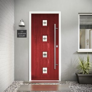 Benchmark Milton Red Diamond Grey Glass External